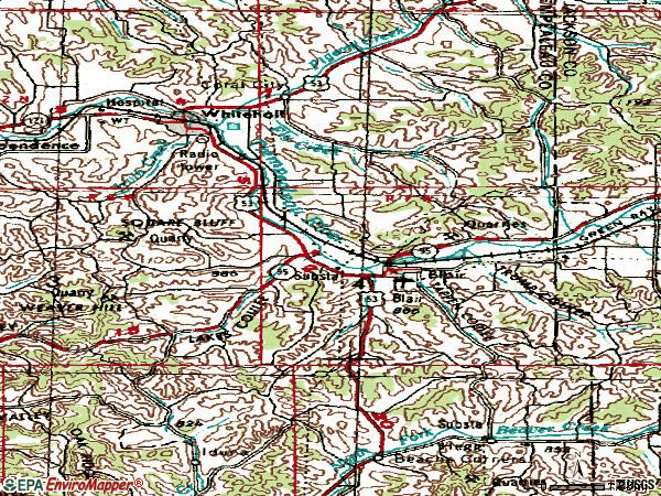 Zip code 54616 topographic map