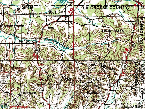 Zip code 54644 topographic map