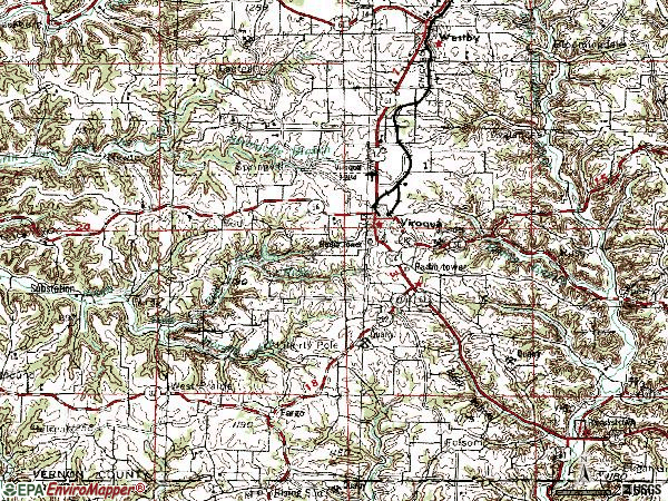 Zip code 54665 topographic map