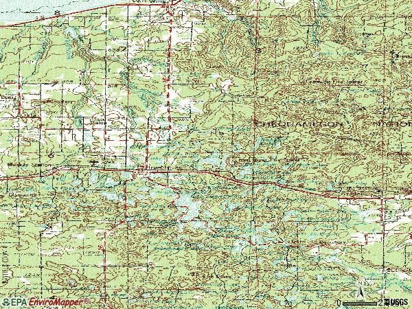 Zip code 54847 topographic map