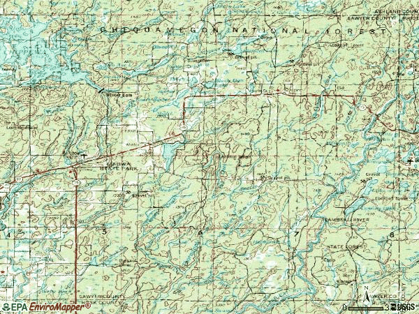 Zip code 54896 topographic map