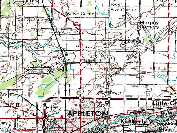 Zip code 54913 topographic map