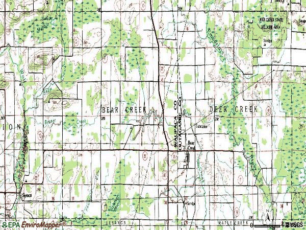 Zip code 54922 topographic map