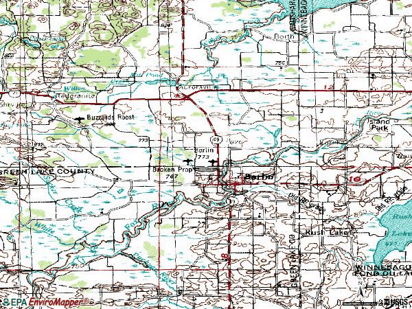 Zip code 54923 topographic map
