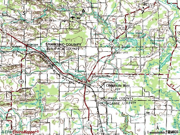 Zip code 54929 topographic map