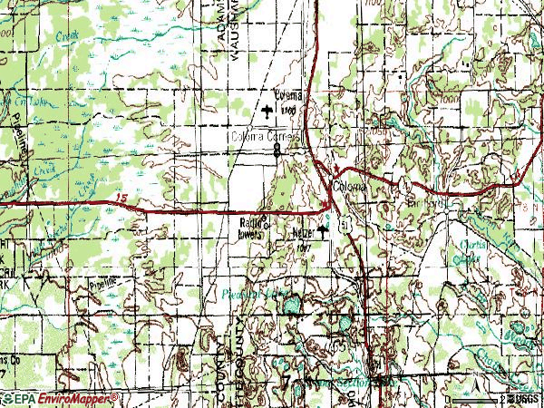 Zip code 54930 topographic map