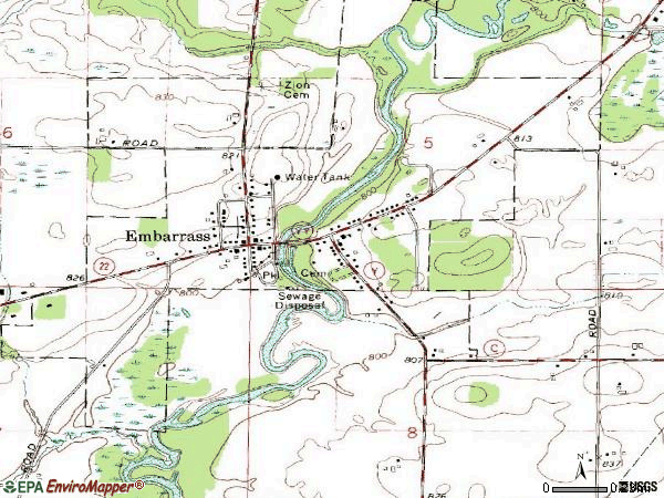 Zip code 54933 topographic map
