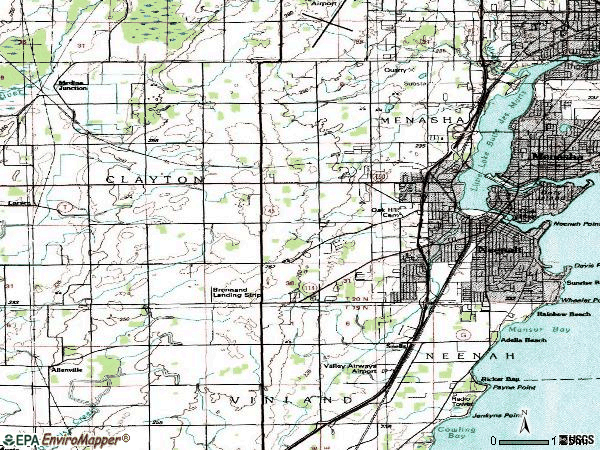 Zip code 54956 topographic map