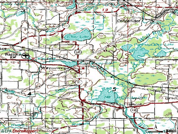 Zip code 54983 topographic map