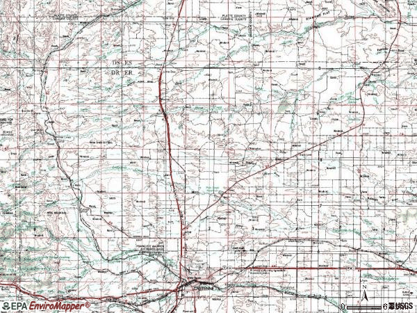Zip code 82009 topographic map