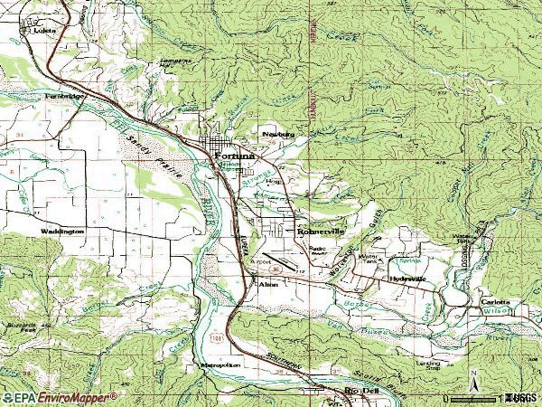 Zip code 95540 topographic map