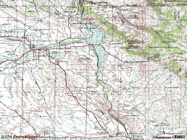 Zip code 82431 topographic map