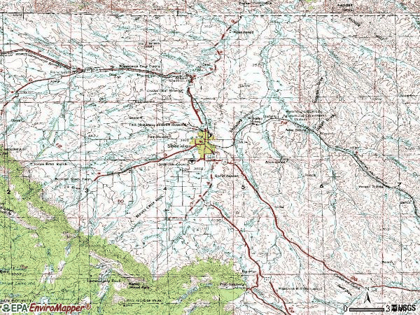Zip code 82801 topographic map