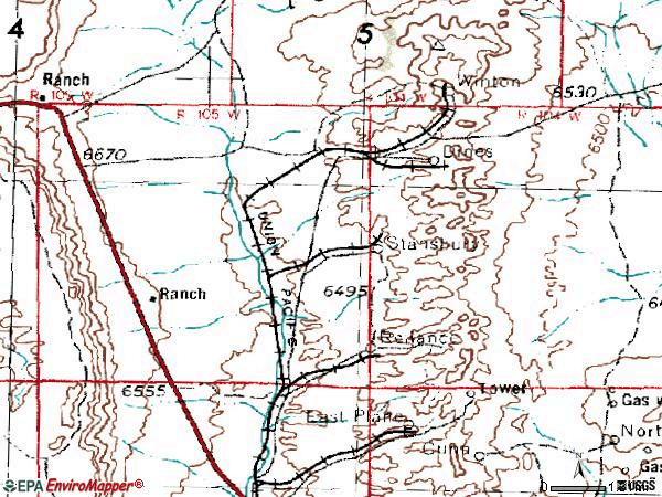 Zip code 82943 topographic map