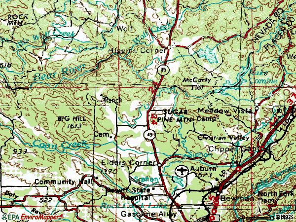 Zip code 95602 topographic map
