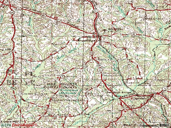Zip code 36010 topographic map