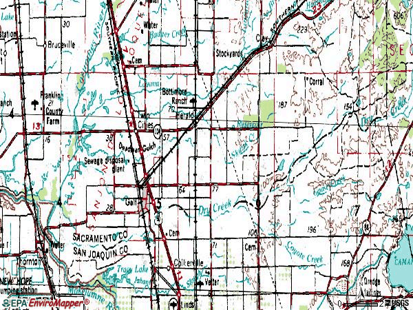 Zip code 95632 topographic map