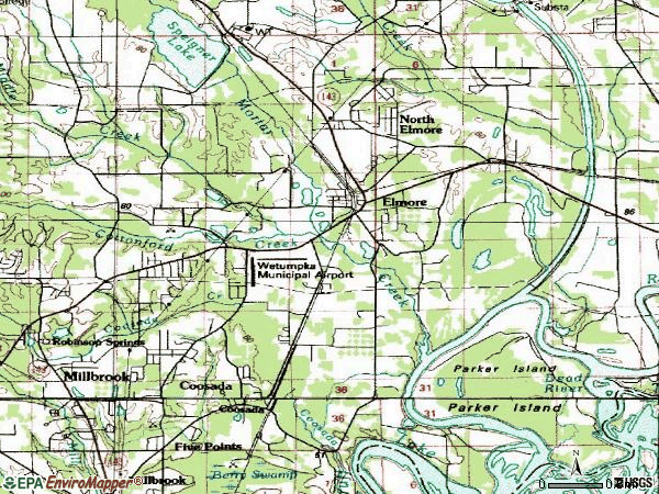 Zip code 36025 topographic map