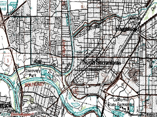 Zip code 95815 topographic map