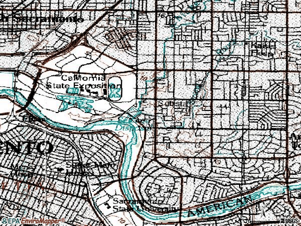 Zip code 95825 topographic map