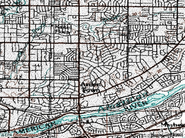 Zip code 95864 topographic map