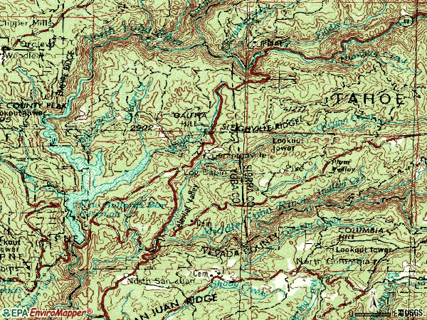 Zip code 95922 topographic map