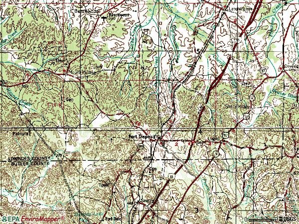 Zip code 36032 topographic map