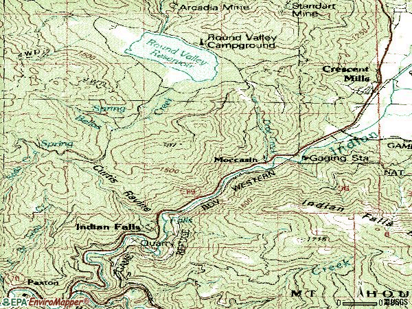 Zip code 95934 topographic map
