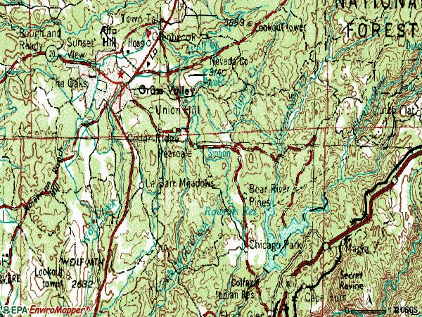 Zip code 95945 topographic map