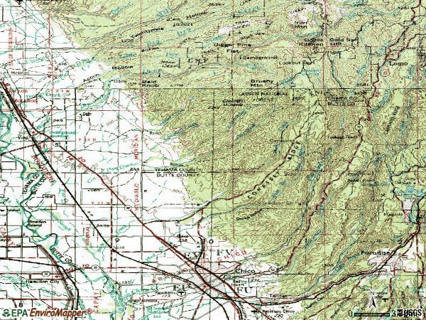 Zip code 95973 topographic map
