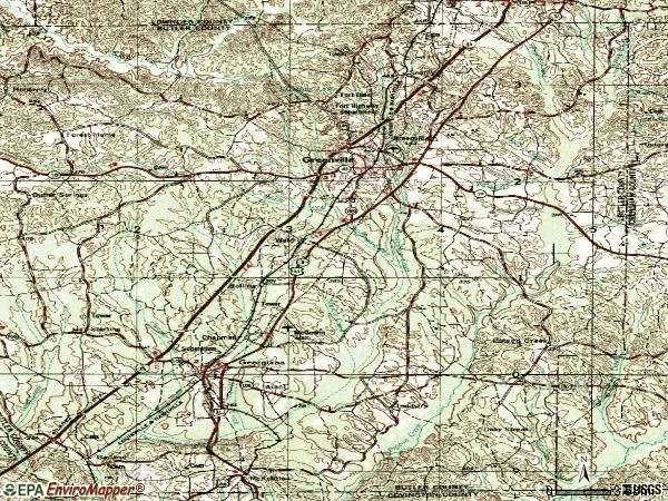 Zip code 36037 topographic map