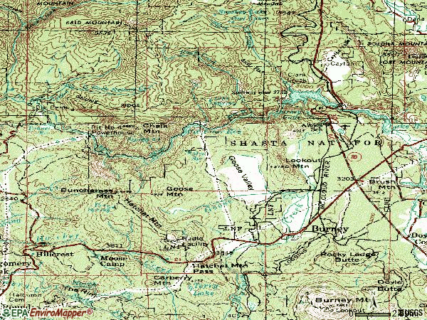 Zip code 96013 topographic map