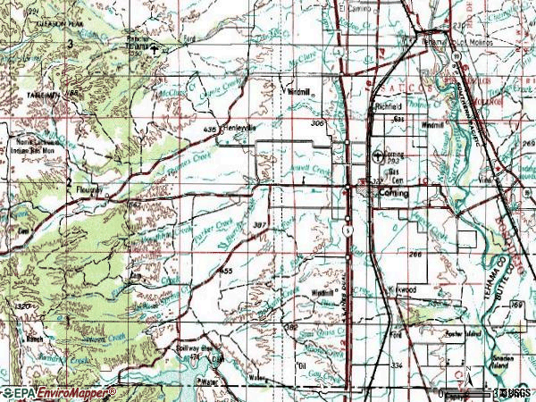 Zip code 96021 topographic map