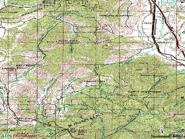 Zip code 96034 topographic map