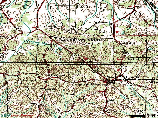 Zip code 36046 topographic map