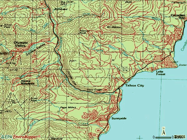 Zip code 96145 topographic map