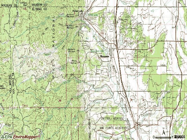 Zip code 80132 topographic map