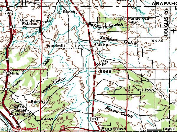 Zip code 80134 topographic map