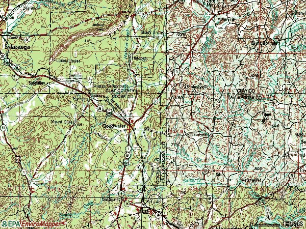 Zip code 35072 topographic map