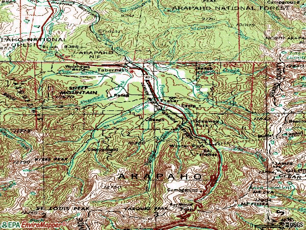 Zip code 80482 topographic map