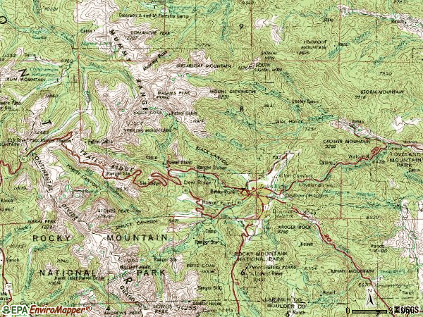 Zip code 80517 topographic map