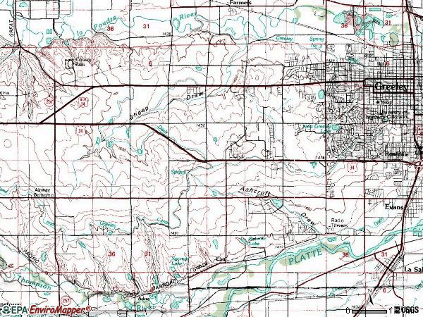 Zip code 80634 topographic map