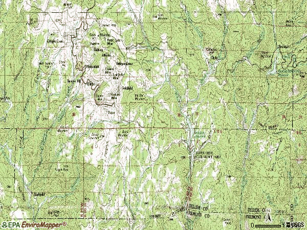 Zip code 80860 topographic map