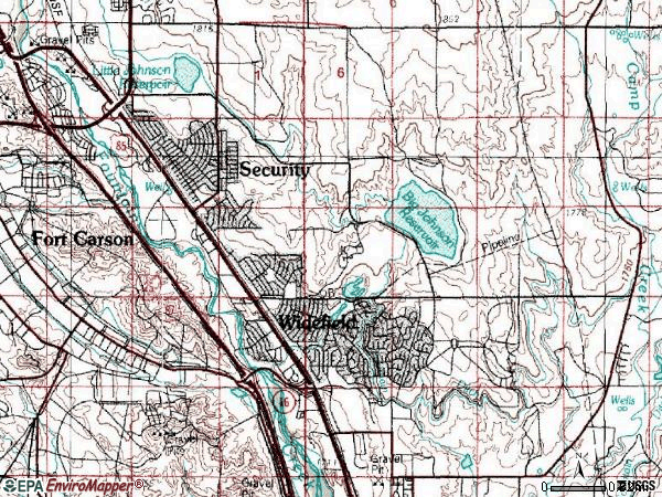 Zip code 80911 topographic map