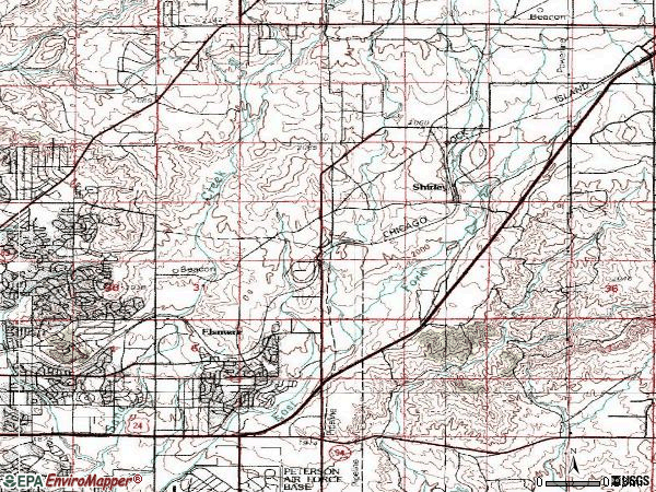 Zip code 80915 topographic map