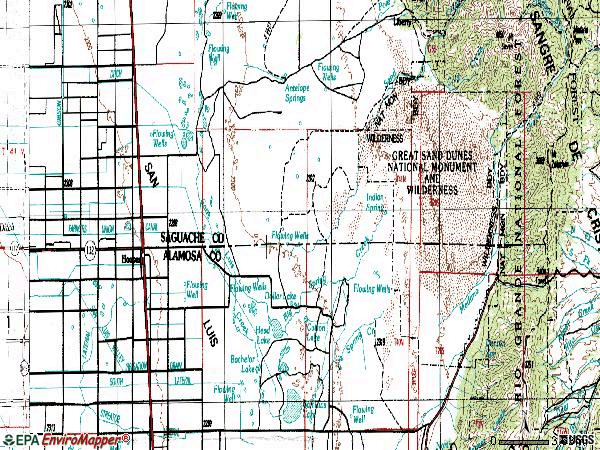 Zip code 81136 topographic map