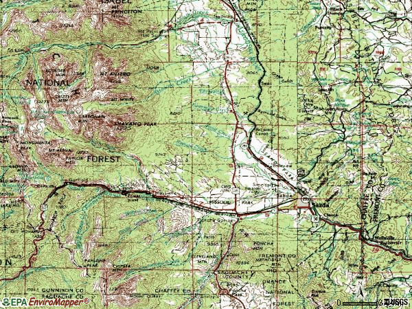 Zip code 81201 topographic map
