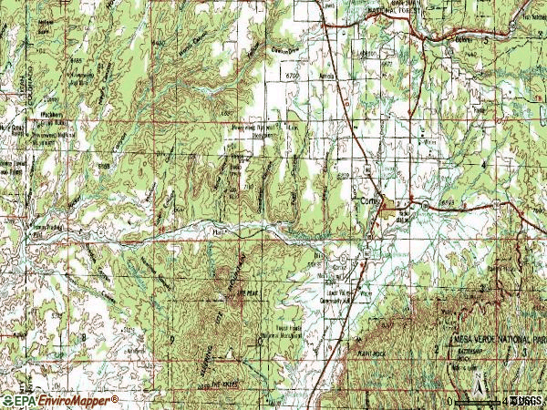 Zip code 81321 topographic map