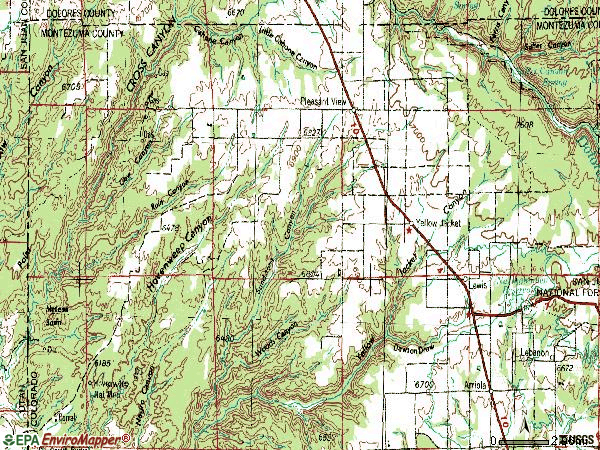 Zip code 81331 topographic map