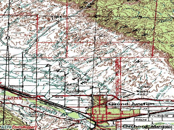 Zip code 81505 topographic map